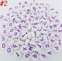 "1000 PCS Fashion Jewelry Purple  Alphabet /Letter ""A-Z"" Acrylic White Spacer Beads 7mm Fit Bracelets DIY Free Shipping  P12"