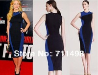 New Women Celeb Style Pinup Bodycon Colorblock Business Party Pencil Dress