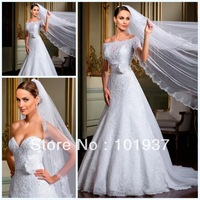 2013 New Off The Shoulder Bride Gowns A-Line Elegant Short Sleeves Floor Length White Vestidos De Noivas Free Shipping LT26