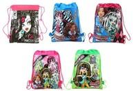 factory price Free shipping 1pcs MONSTER HIGH  Cartoon Bag-woven fabrics Kid's School bag 34X27CM,party gift-tr222