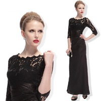 elegant evening dresses three quarter sleeve lace one-piece dress autumn