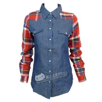Free shiping Preppy style spring and autumn denim turn-down collar plaid shirt casual shirt chromophous 224002