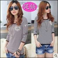 2013 autumn basic o-neck long-sleeve shirt slim stripe t-shirt