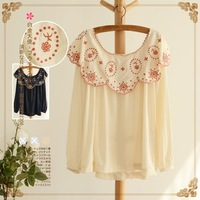 [Sophie Beauty] Exquisite embroidery ruffle collar raglan sleeve long-sleeve cute shirt 2013 autumn and winter women 10829