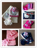 (10 Sets/Lot) 2014 New Style Hello Kitty Baby Girls' Winter Knitting Hats +Scarf+Gloves Suit Baby Outfits Cartoon Caps