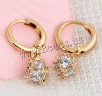 Free shipping!!!Brass Lever Back Earring,Guaranteed 100%, 18K gold plated, with cubic zirconia, nickel, lead & cadmium free