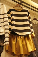 2013 autumn one-piece dress twinset stripe one-piece dress long-sleeve knitted basic skirt