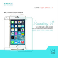 Free shipping genuine original bulk sale NILLKIN Amazing H+ Nanometer anti-burst tempered glass screen protector for iPhone 5S/5