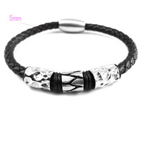 Bracelets For Men 316L Stainless Steel and Black Leather  Bead Magnet Buckle Bracelets