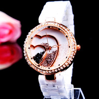 Ceramic table rhinestone quartz fashion watch rose gold watches 163997