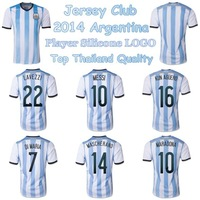 Top thailand quality 2014 Argentina soccer jersey ADIZERO Player Version Argentina Logo,Argentina Football shirts Home white