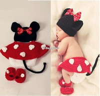 4pcs beanies hats caps,skirt,diapers,shoes minnie mouse design newborn baby girl photography props costume set for 0-12 months