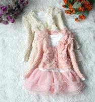 Retail 1 pcs baby girls spring fashion suit flower lace coat + long sleeve dress set children clothing free shipping CCC094