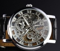 NEW Men's Hollow Steel Leatehr Skeleton Mechanical Wrist Watch