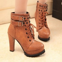 Europe and  United States  new 2013  Martin short boots with high heels round head rivet female boots boots