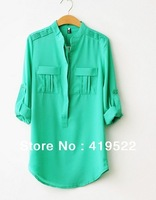 The new women's spring and summer casual female fashion long sleeve chiffon V-neck shirt