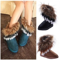 Free shipping 2013 autumn and winter snow boots Feathers fox fur flat-bottomed short cotton-padded shoes winter boots