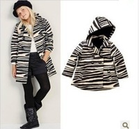 Retail 1 pcs children spring coat with a hood outerwear with Zebra Stripe print cardigan jackets for girls Fashion High CCC247