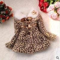 Retail 1 pcs children spring autumn winter leopard fur jackets outwear baby flower girls coat Fashion free shipping CCC229
