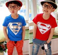 Korean children's clothing wholesale Girls summer models Superman T-shirt boys casual T-shirt,3COLOUR
