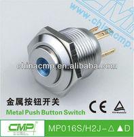 Free Shipping 16mm push button  illuminated switch 12v car led switch