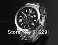 Free Ship,2013 New  52MM Russian Style Jumbo 6hands Military Chronograph Men's Marine japan mov.quartz Watch, Black Dial