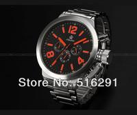 Free Ship,2013 New  52MM Russian Style Jumbo 6hands Military Chronograph Men's Marine japan mov.quartz Watch, Black Dial Red NO.