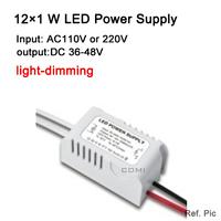 Free shipping light dimming 12*1W led power driver light lamp driver AC220V 110v LED power supply input for LED lamp