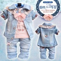Retail 1 set Children's clothing set spring and autumn 2013 quality fashion lace denim jacket +t shirts+ jeans 3 pcs CCC090