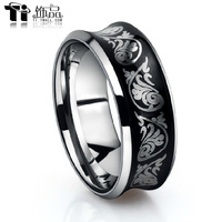 Black Tungsten Carbide Ring Men's Jewel Wedding Engagement Finger Bands With Carved decorative pattern Free Shipping G&S108
