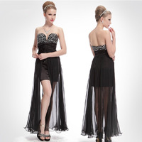 Sexy Strapless Evening Dresses long design slim skirt perspective Chic Black Dress Free Shipping