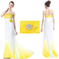 Evening Dresses 2013 New Yellow Strapless Trumpet/Mermaid Fashion dress Free shipping