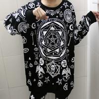 Fashion HARAJUKU killstar five-pointed star hexagram skull geometry loose long-sleeve T-shirt bf