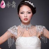 Luxury water high quality rhinestone the bride wedding dress chain bridal rhinestone tassel