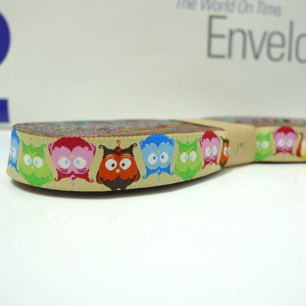 5/8'' 16mm Wide Multi-Color Owls Lime Tone Woven Jacquard Ribbon For Dog Collar Free Shipping(China (Mainland))