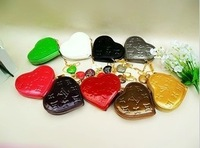 2014 new fashion patent leather heart-shaped purse Wallets coin bag candy bag