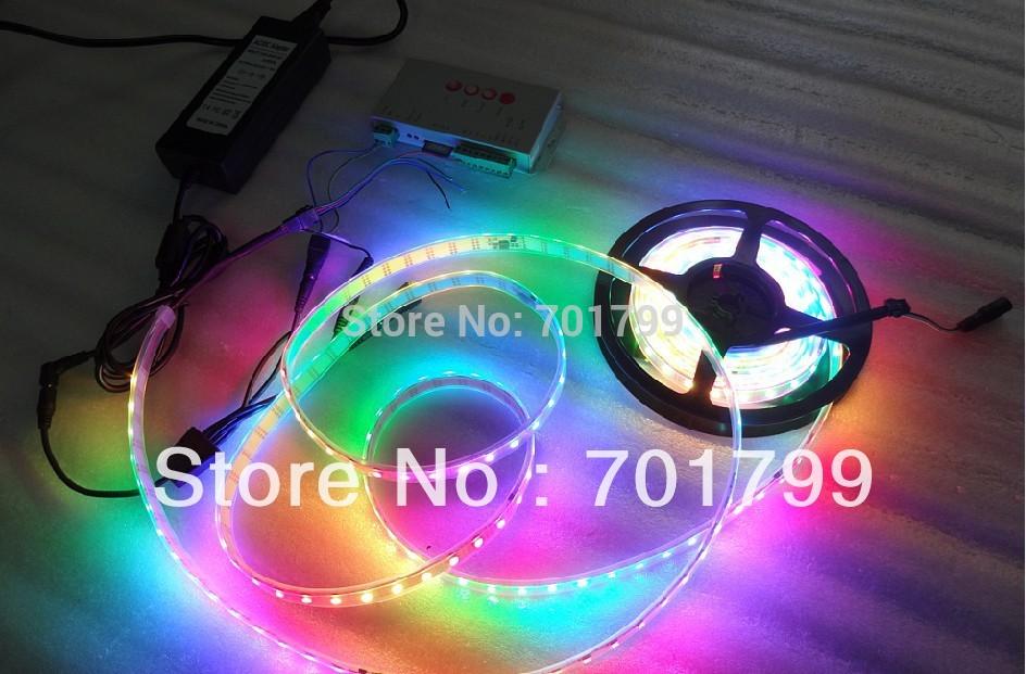 5m DC12V IP68 60leds/m INK1003 led pixel srip+T-1000S controller+12V/8A power adaptor lighting kit(China (Mainland))