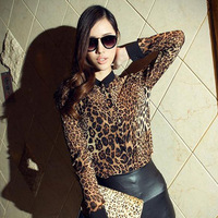 New Fashion Sexy Women's Baroque Leopard Chiffon Long Sleeve Blouse Tops T Shirt