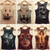 Size M-XL New Summer Graffiti Fashion Men's 3D Printed Cotton Tank Tops Tee Vests Free Shipping 3D-002