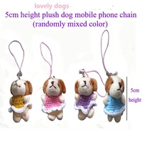 NEW! 5cm plush dog mobile phone chain plush animals toys with CUTE sweater dresses pendant