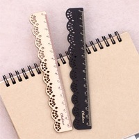 2013 Vintage lace shape small wooden ruler straight rule rectilinear scale 15cm free shipping