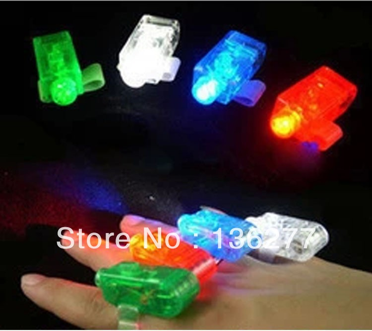 500pcs/lot LED Finger Light Laser Finger Beams Ring Torch For Party,Wedding Celebration Mix Color with Simple Package(China (Mainland))