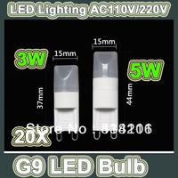 Wholesale -20X The Newest LED Lamp Beads High Quality MINI AC 220V G9 LED 3W / 5W 100Lm G9 MINI LED Lamp Beads Free shipping