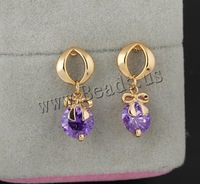Free shipping!!!Brass Drop Earring,2013 new fashion girl, 18K gold plated, with cubic zirconia, nickel, lead & cadmium free