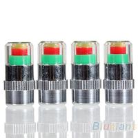 4PCS Car Auto Tire Pressure Monitor Valve Stem Caps Sensor Indicator Eye Alert Diagnostic Tools Kit 02HN
