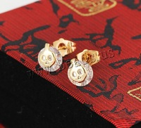 Free shipping!!!Brass Stud Earring,2013 new fashion girl, 18K gold plated, with cubic zirconia, nickel, lead & cadmium free