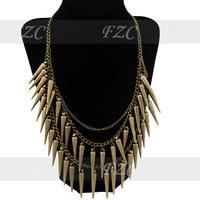 Artilady gold charm spike rivet necklaces jewelry party necklaces jewelry women necklaces jewelry 10pcs/Lot wholesales