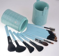 16pcs MakeUp Cosmetic Brush Cup Holder Cylinder Case Crocodile Blue
