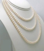 "7-8mm Genuine white freshwater pearl necklace long 35"" MY1429"