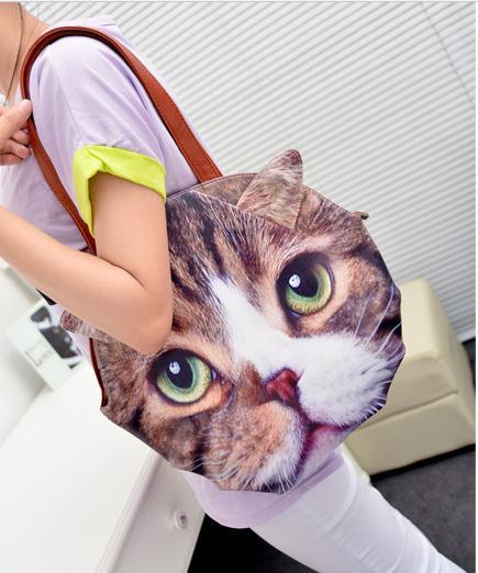Free Shipping Women Fashion Leather Elegant Print Cat Dog Print & Leopard Totes Bags for Girls Child Bolso bolsa B241(China (Mainland))